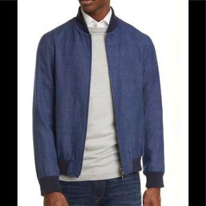 Eidos Trim Fit Linen Wool Bomber Jacket Blue Sz L